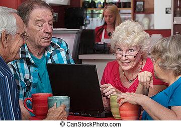 laptop , γυναίκα , φίλοι , ηλικιωμένος
