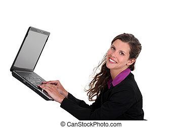 laptop , γυναίκα , mid-air , δακτυλογραφία
