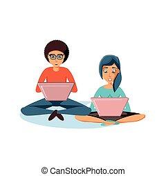laptop ηλεκτρονικός εγκέφαλος , ζευγάρι , νέος , κάθονται