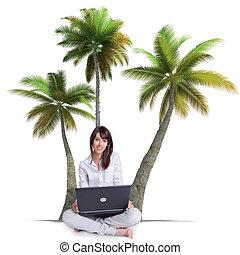 laptop , κορίτσι , αρπάζω με το χέρι αγχόνη