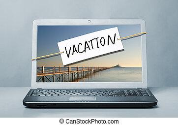 laptop , με , διακοπές , σημείωση