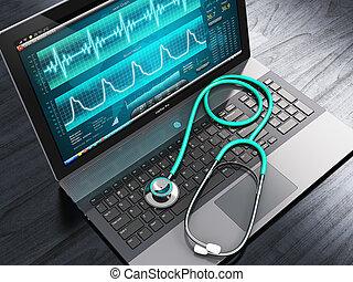 laptop , με , ιατρικός , διαγνωστικός , λογισμικό , και ,...