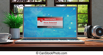 laptop , με , ιόs , detected, οθόνη , επάνω , άγαρμπος αναλόγιο , σε , home., όμορφος , θολός , φύση , φόντο. , 3d , εικόνα