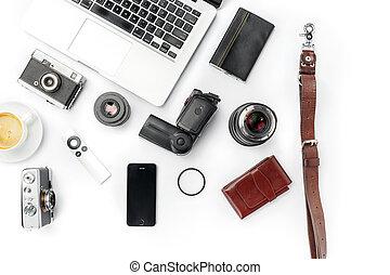 laptop , μοντέρνος , εξαρτήματα , business., χώρος εργασίας , αγαθός ανδρικός