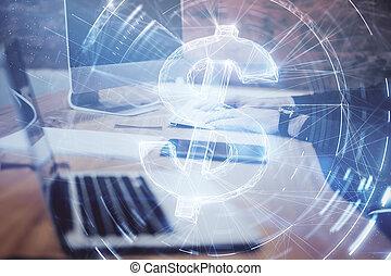 laptop , ολογράφημα , αφαιρώ , σήμα , δολάριο
