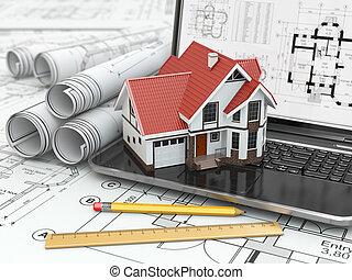 laptop , σπίτι , και , αρχιτεκτονικό σχέδιο, με , project.