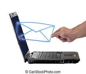 laptop , φάκελοs , email , στέλνω