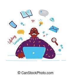 laptop., איש, וקטור, יותר ישן, ללמוד
