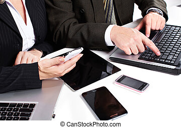 laptop., グループ, 仕事, ビジネス 人々