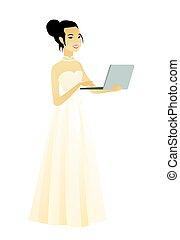 laptop., 花嫁, アジア人, 使うこと, 白いドレス