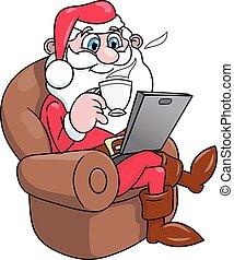 laptop, 2, claus, santa