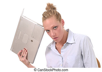 laptop, 2, kasta, kvinna