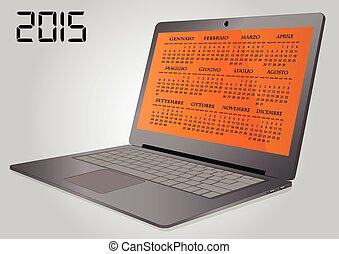 illustration of 2015 calendar on screen of laptop in italian