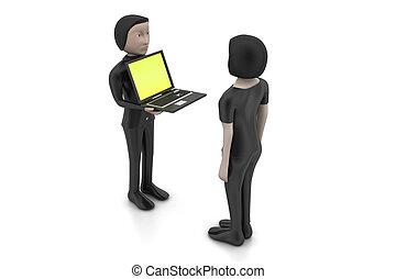 laptop, 3d, fazer, discussão, pessoas