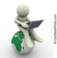 laptop, 3d, mann