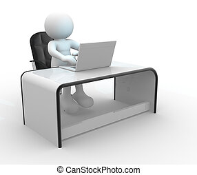 Laptop - 3d people - human character, person sitting at a...