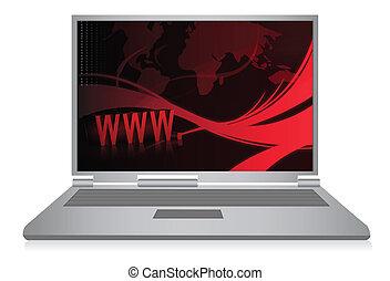 laptop, abstratos, fundo