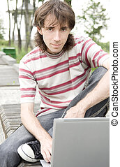 laptop, adolescente, estudante, /