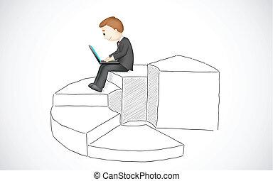 laptop, affär, arbete, man