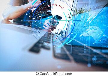 laptop, affär, entreprenör rörlig tel, dator, strategi, användande, hand, begrepp