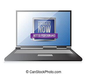 laptop, aggiornamento, ora, illustrazione