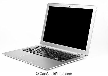 Laptop Air - Thin silver laptop open with black blanc screen...