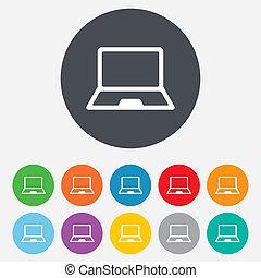 laptop, aláír, icon., jegyzetfüzet, számítógép, jelkép.