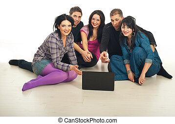 laptop, amici, felice