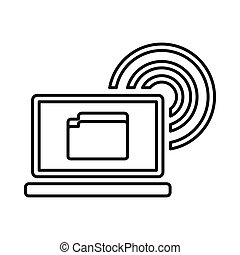 Laptop and and wireless icon, outline style