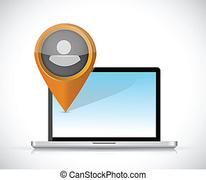 laptop and avatar pointer illustration design