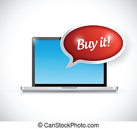 laptop and buy it message. illustration design
