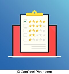 Laptop and clipboard with rating stars. Five stars and green check mark in checklist. Customer review, quality control, customer service, client satisfaction concepts. Flat design. Vector illustration