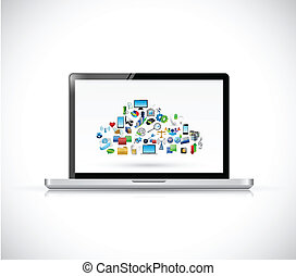 laptop and cloud computing icons. illustration