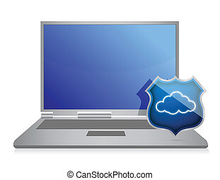 laptop and cloud computing shield security concept