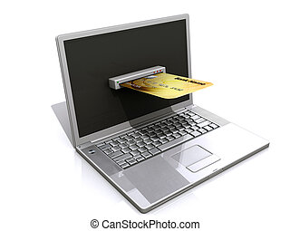 laptop and credit card, E-commerce