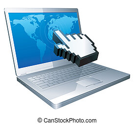 Laptop and cursor. - Computer cursor touches the world map...