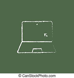 Laptop and cursor icon drawn in chalk.