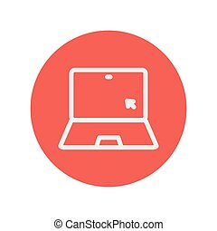 Laptop and cursor thin line icon