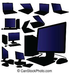 laptop and desktop computer vector