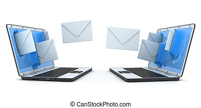 Laptop and fly envelopes (done in 3d)