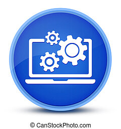 Laptop and gears icon isolated on special blue round button abstract