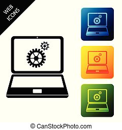 Laptop and gears icon on white background. Laptop service concept. Adjusting app, setting options, maintenance, repair, fixing laptop concepts. Set icons colorful square buttons. Vector Illustration