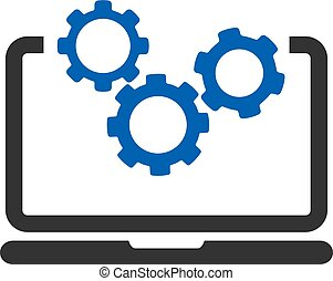 Laptop And Gears Vector Icon
