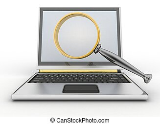 Laptop and magnifying glass. Conception of search of answers...