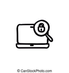 Laptop and magnifying glass sketch icon.