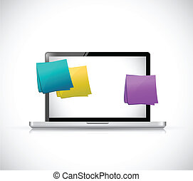 laptop and multiple color posts illustration design over a white background