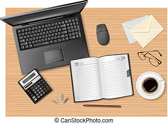 laptop and office supplies laying on the brown board. Vector...