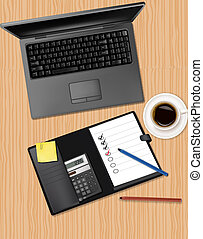 laptop and office supplies