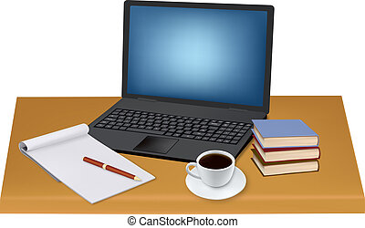 Laptop and office supplies - Laptop, cup of coffee and...