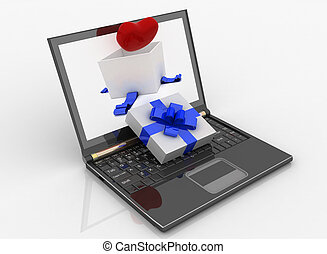 Laptop and open box for gift with a heart on white background